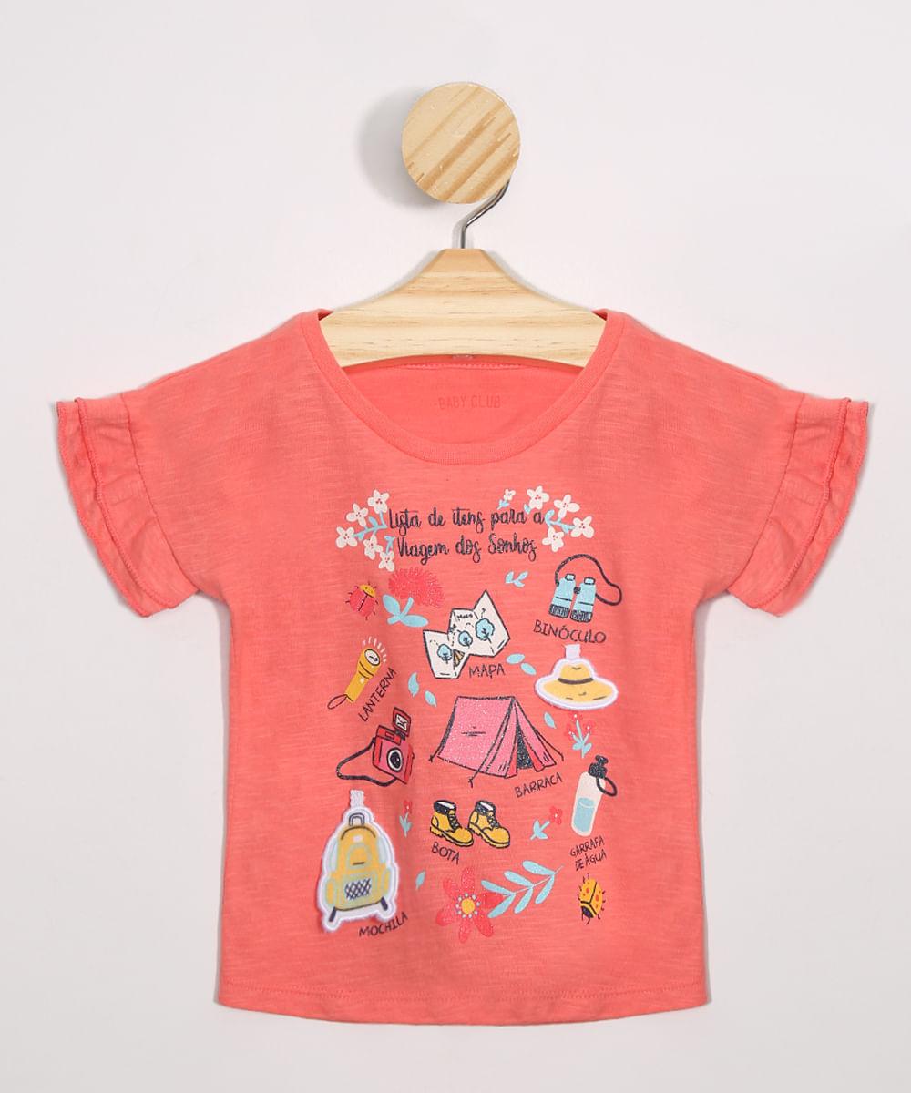 Blusa Infantil Viagem dos Sonhos com Babado Manga Curta Decote Redondo Coral