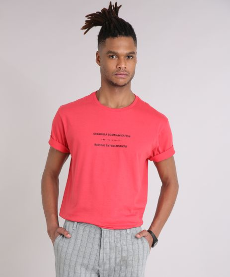 Camiseta-Masculina--Guerrilla-Communication--Manga-Curta-Gola-Careca-Vermelha-9245593-Vermelho_1