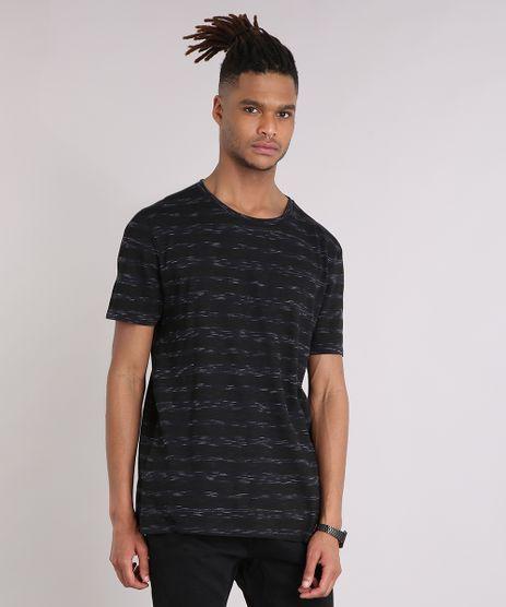 Camiseta-Masculina-Listrada-Manga-Curta-Gola-Careca-Preta-9208935-Preto_1
