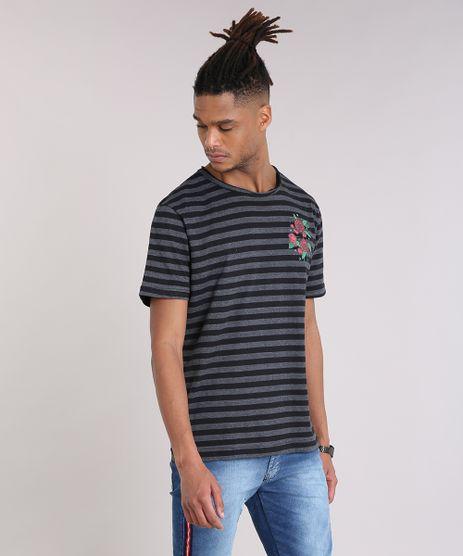 Camiseta-Masculina-Listrada-com-Estampa-de-Rosas-Manga-Curta-Gola-Careca-Cinza-Mescla-9204774-Cinza_Mescla_1