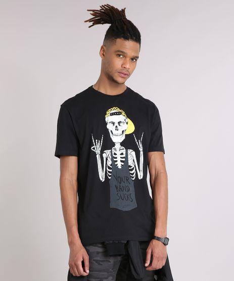 Camiseta-Masculina-Caveira-Manga-Curta-Gola-Careca-em-Algodao---Sustentavel-Preta-9245573-Preto_1