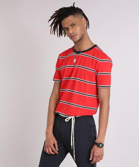 Camiseta-Masculina-Listrada-Manga-Curta-Gola-Careca-Vermelha-9208935-Vermelho_1