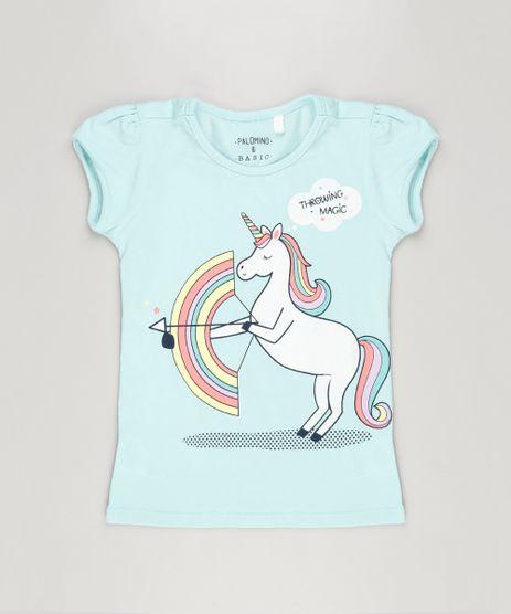 Blusa-Infantil-Unicornio-com-Glitter-Manga-Curta-Decote-Redondo-em-Algodao---Sustentavel-Verde-Claro-9107641-Verde_Claro_1