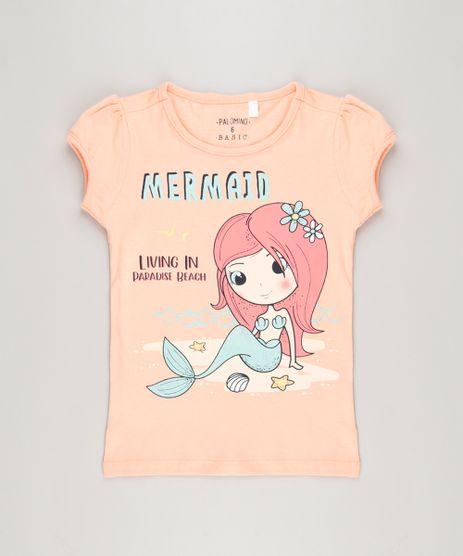Blusa-Infantil-Sereia-com-Glitter-Manga-Curta-Decote-Redondo-em-Algodao---Sustentavel-Coral-9215953-Coral_1
