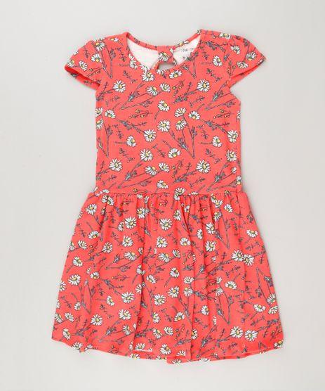 Vestido-Infantil-Estampado-Floral-com-Manga-Curta-e-Decote-Redondo-em-Algodao---Sustentavel-Coral-9225518-Coral_1
