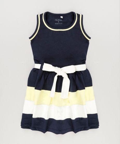 Vestido-Infantil-com-Laco-Sem-Manga-Decote-Redondo-em-Algodao---Sustentavel--Azul-Marinho-9222071-Azul_Marinho_1