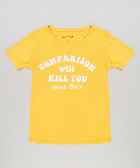 Blusa-Infantil--Comparison-Will-Kill-You--Manga-Curta-Decote-Redondo-Amarela-9222494-Amarelo_1
