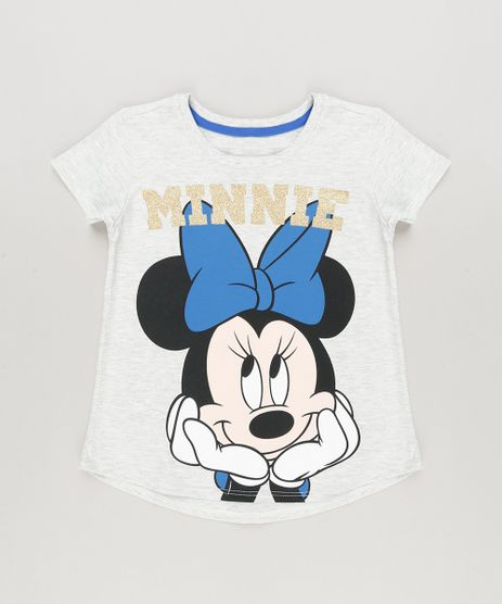 Blusa-Infantil-Minnie-com-Glitter-Manga-Curta-Decote-Redondo-em-Algodao---Sustentavel-Cinza-Mescla-Claro-9230147-Cinza_Mescla_Claro_1