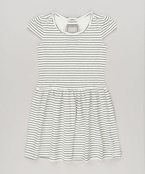 Vestido-Infantil-Listrado-com-Manga-Curta-e-Decote-Redondo-em-Algodao---Sustentavel-Off-White-9225516-Off_White_1