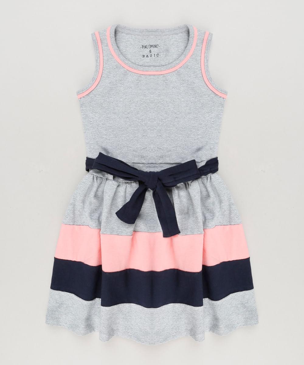 0040f53fb Vestido Infantil com Laço Sem Manga Decote Redondo Cinza Mescla - cea