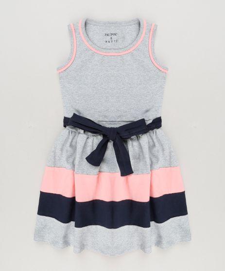 Vestido-Infantil-com-Laco-Sem-Manga-Decote-Redondo-em-Algodao---Sustentavel--Cinza-Mescla-9222070-Cinza_Mescla_1