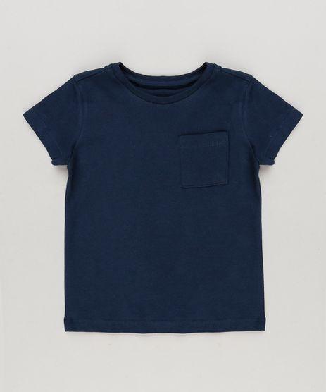 Camiseta-Infantil-com-Bolso-Manga-Curta-Gola-Careca-em-Algodao---Sustentavel-Azul-Marinho-8574313-Azul_Marinho_1