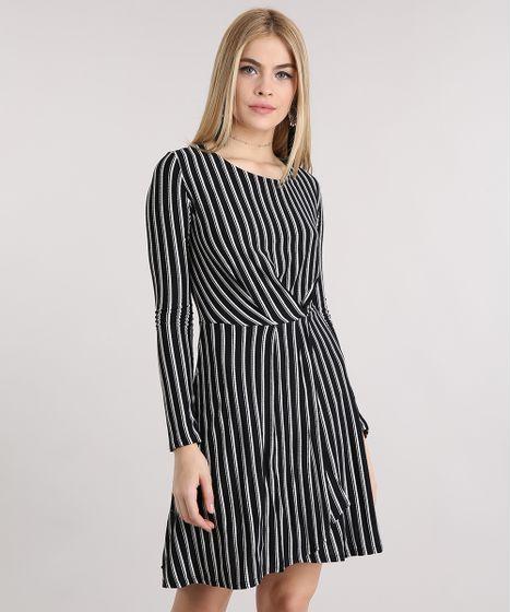 b0e782eca0 Vestido Feminino Transpassado Listrado Manga Longa Curto Preto - cea