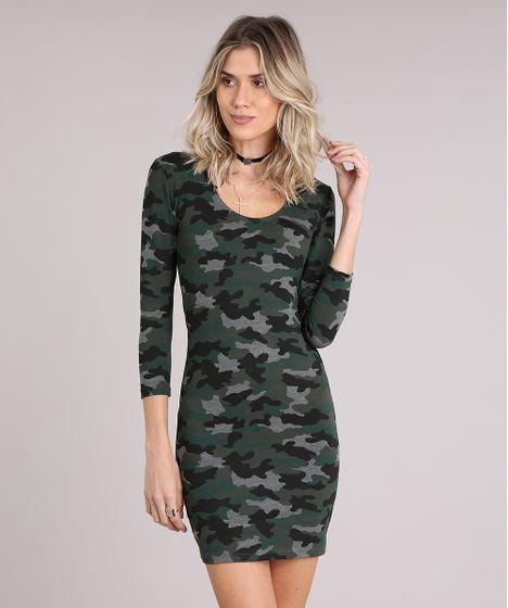 820aff49e1 Vestido Feminino Estampado Camuflado Manga Longa Curto Verde Militar ...