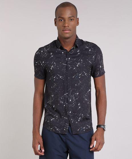 Camisa-Masculina-Estampada-de-Respingos-Manga-Curta-Preta-9170788-Preto_1