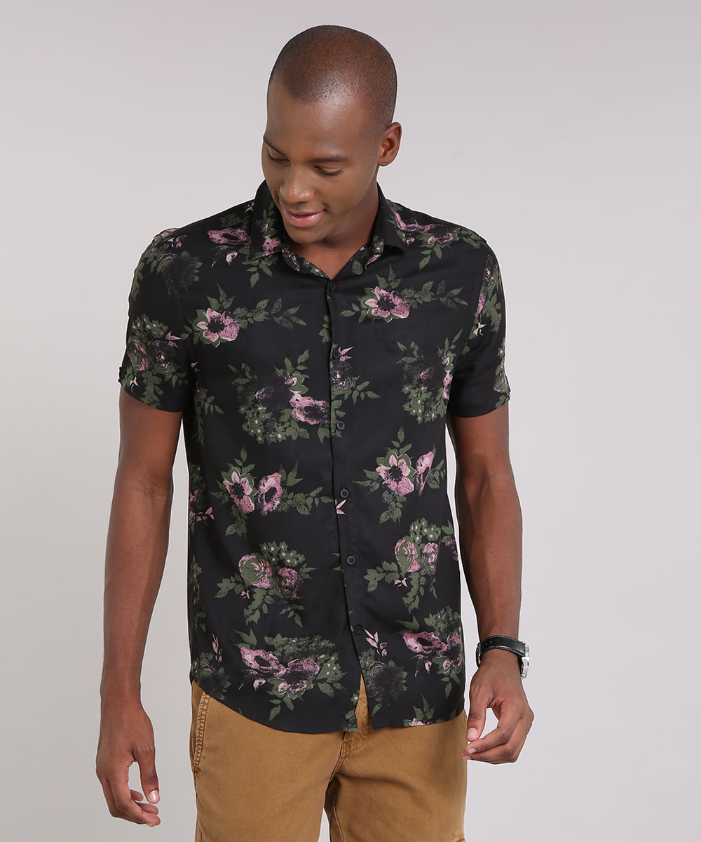 c8326c213 ... Camisa-Masculina-Estampada-Floral-Manga-Curta-Preta-9193695-