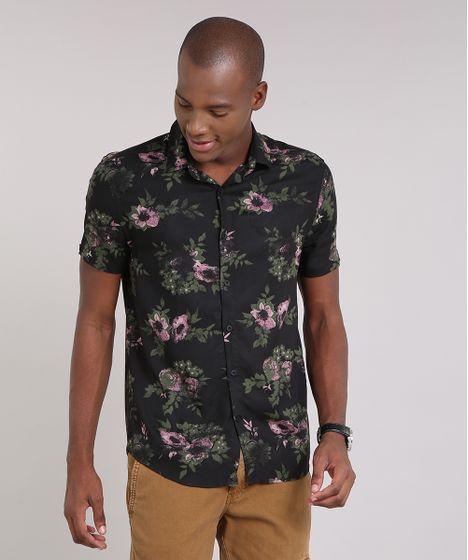 Camisa-Masculina-Estampada-Floral-Manga-Curta-Preta-9193695- ... a222d57110