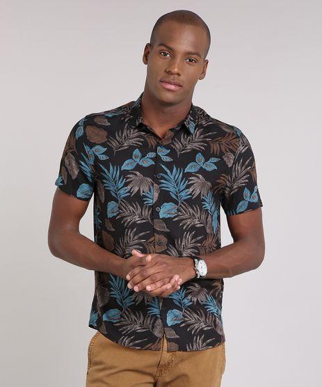 Camisa-Masculina-Estampada-de-Folhagem-Manga-Curta-Preta-9170780-Preto_1
