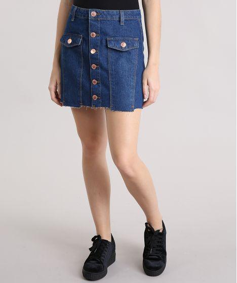fba68e333 Saia Jeans Feminina com Botões Barra Desfiada Curta Azul Escura - cea