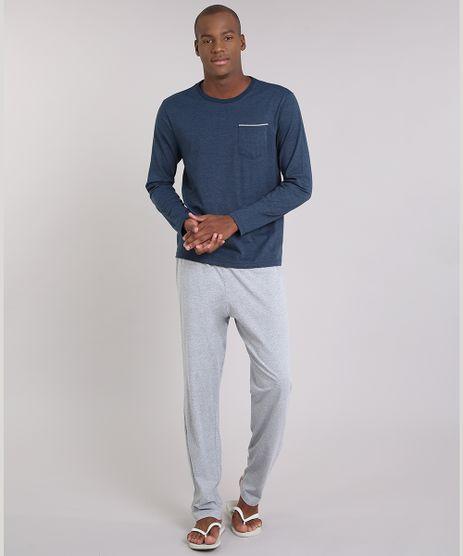 Pijama-Masculino-Listrado-com-Bolso-Manga-Longa-Gola-Careca-Azul-9181188-Azul_1
