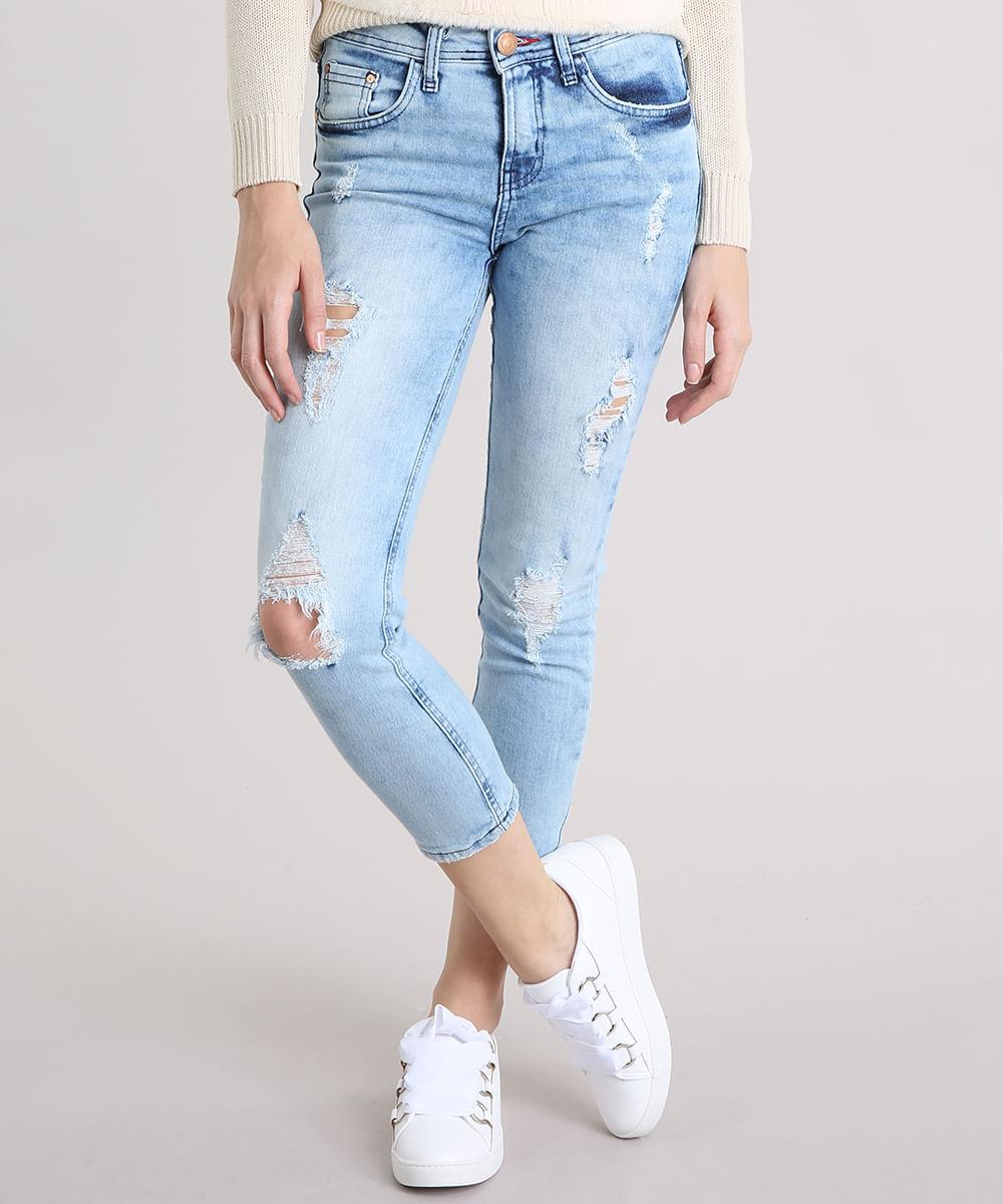 a8dbadc02 Calça Jeans Feminina Skinny Cropped Destroyed Azul Clara - cea
