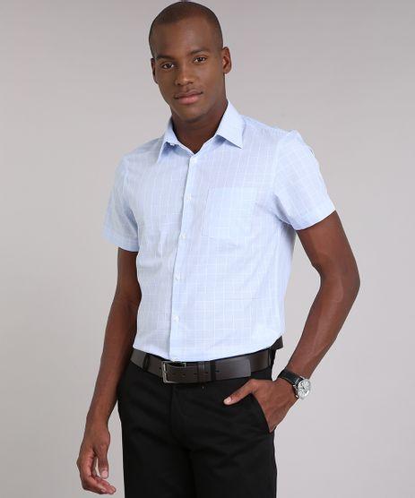 Camisa-Masculina-Comfort-Xadrez-Manga-Curta-Azul-Claro-9050779-Azul_Claro_1