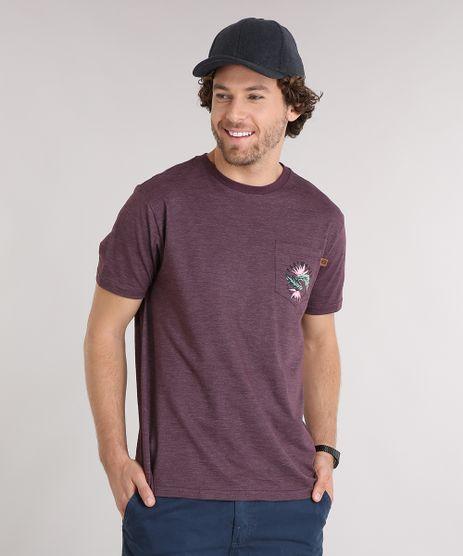 Camiseta-Masculina-com-Estampa-Floral-e-Bolso-Manga-Curta-Gola-Redonda-Vinho-9125863-Vinho_1