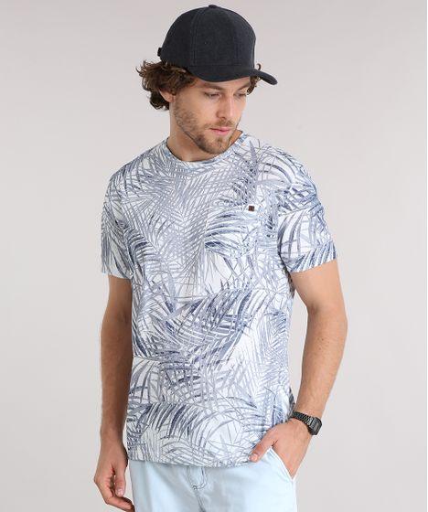 9a2b96fb87 Camiseta Masculina Estampada de Folhagem com Bolso Manga Curta Gola ...