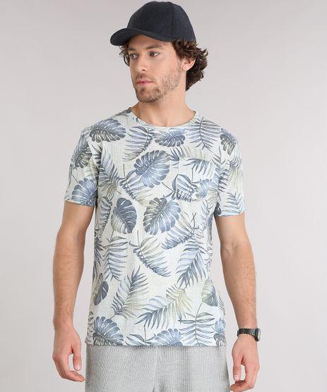 Camiseta-Masculina-Estampada-de-Folhagem-com-Bolso-Manga-Curta-Gola-Careca--Verde-Clara-9159639-Verde_Clara_1