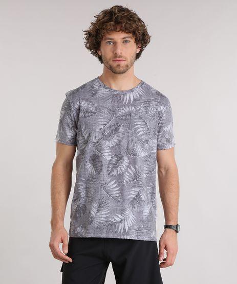 Camiseta-Masculina-Estampada-de-Folhagem-com-Bolso-Manga-Curta-Gola-Careca--Cinza-Escura-9159639-Cinza_Escura_1