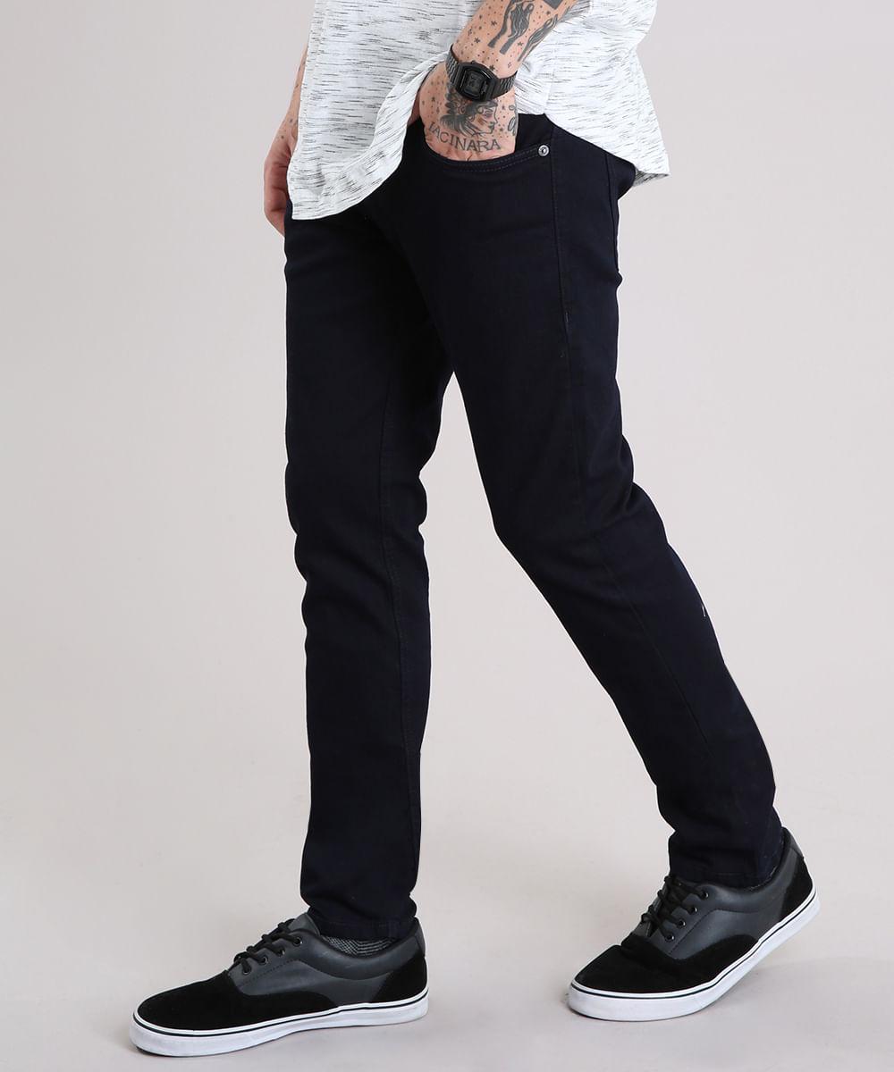 Calça Jeans Masculina Skinny com Bolsos Azul Escuro - cea 425edb4d673
