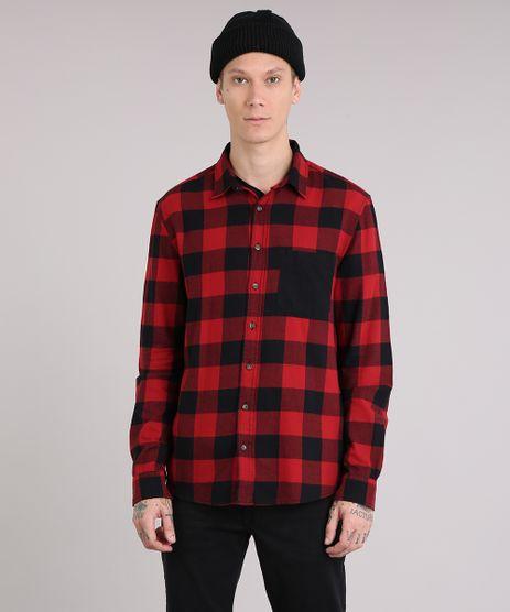 Camisa-Masculina-Xadrez-em-Flanela-com-Bolso-Manga-Longa-Vermelha-8623400-Vermelho_1