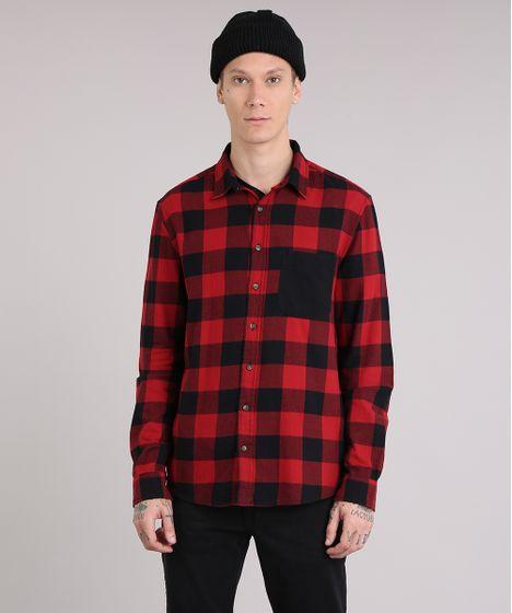 Camisa Masculina Xadrez em Flanela com Bolso Manga Longa Vermelha - cea eae05cea55275