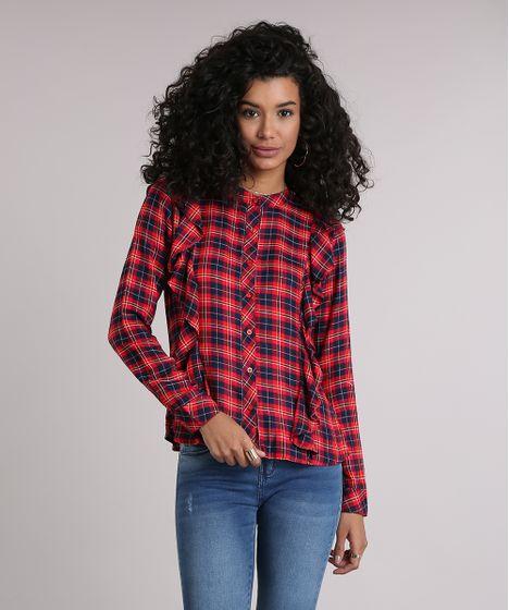 249d494234 Camisa Feminina Xadrez com Babado Manga Longa Vermelha - cea