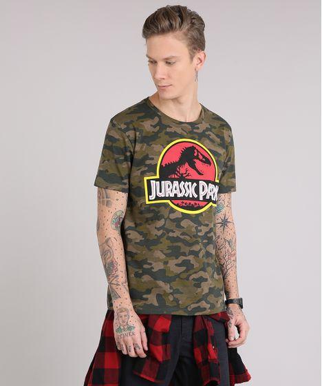 Camiseta-Masculina-Jurassic-Park-Estampada-Camuflada-Manga-Curta- ... 6992442c3cb