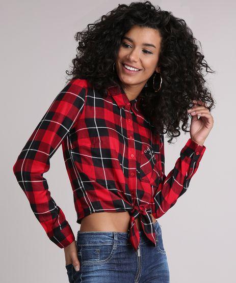 Camisa-Feminina-Xadrez-com-No-Ilhos-no-Bolso-Manga-Longa-Vermelha-8918168-Vermelho_1