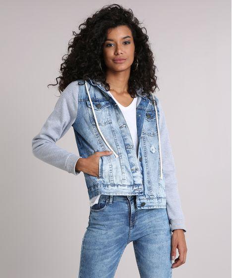 9893c8d81d Jaqueta Jeans Feminina com Capuz Removível em Moletom Azul Claro - cea