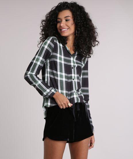 Camisa-Feminina-Xadrez-Manga-Longa-Verde-Militar-9102852-Verde_Militar_1