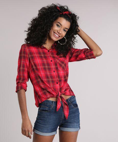 Camisa-Feminina-Xadrez-com-No-Manga-Longa-com-Bolso-Vermelha-9102848-Vermelho_1