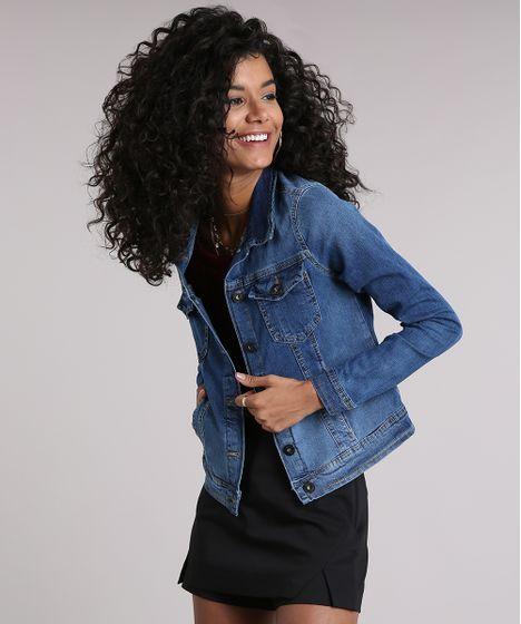 477a0e706 Jaqueta Jeans Feminina com Bolsos e Elastano Azul Médio - cea