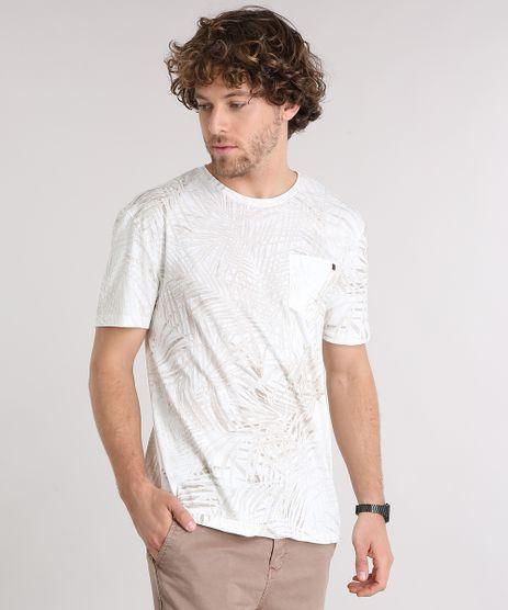 Camiseta-Masculina-Estampada-de-Folhagem-com-Bolso-Manga-Curta-Gola-Careca--Off-White-8905743-Off_White_1