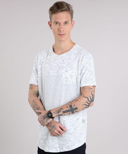 14b41dc77def9 Camiseta Masculina Recortes com Bolso Manga Curta Gola Careca Cinza Mescla  Claro