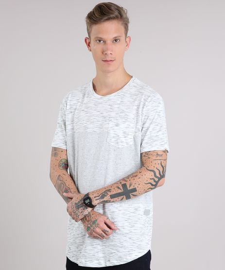 Camiseta-Masculina-Recortes-com-Bolso-Manga-Curta-Gola-Careca-Cinza-Mescla-Claro-9147926-Cinza_Mescla_Claro_1