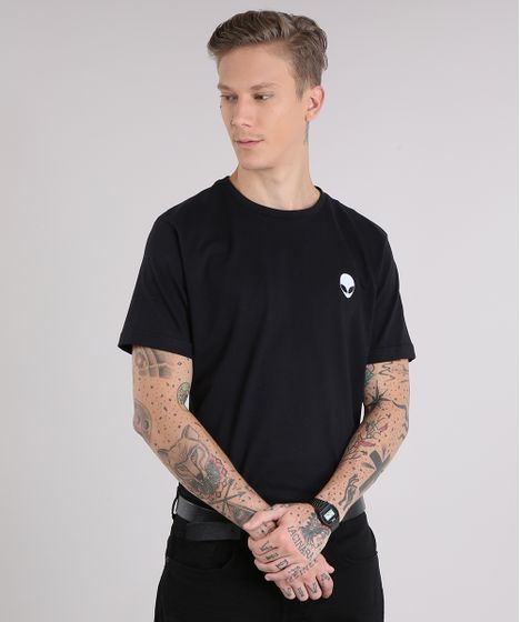 fd643e1a57 Camiseta Masculina com Bordado E.T. Manga Curta Gola Careca Preta - cea