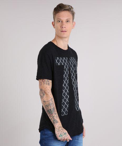 Camiseta-Masculina-Longa--76--Manga-Curta-Gola-Careca-Preta-8524185-Preto_1