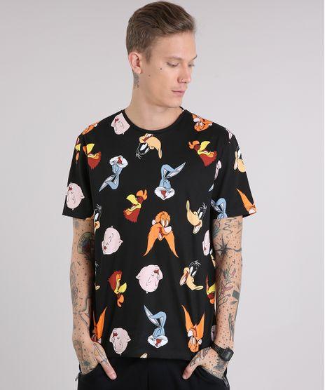 Camiseta-Masculina-Estampada-Looney-Tunes-Manga-Curta-Gola-Careca-Preta-9107954-Preto_1