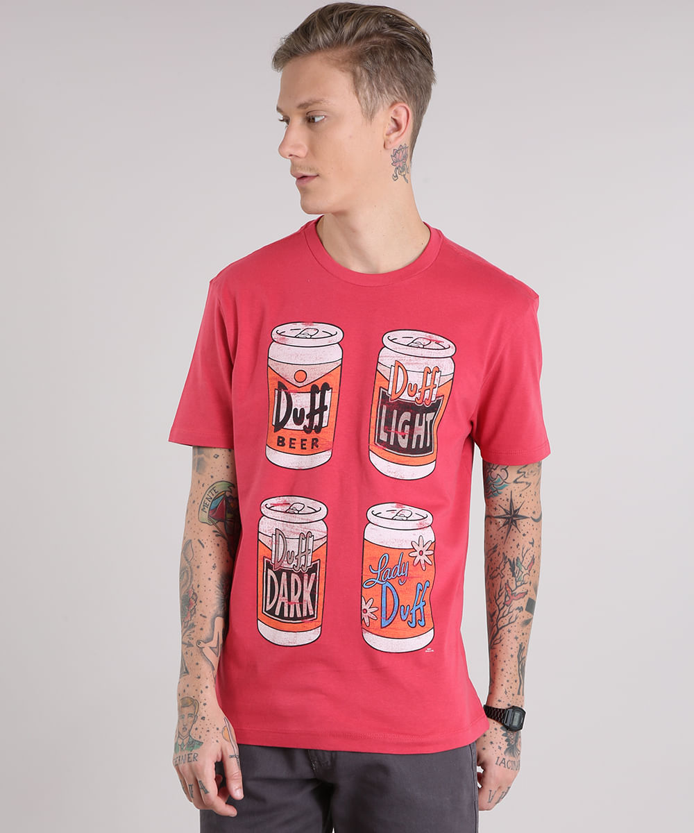 1b4a5fe9c Camiseta Masculina Duff Os Simpsons Manga Curta Gola Careca Vermelha ...