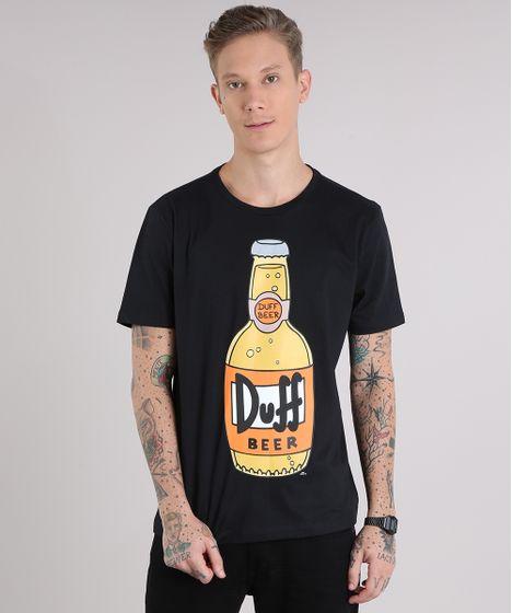 d77fa76e3 Camiseta Masculina Duff Os Simpsons Manga Curta Gola Careca Preta - cea