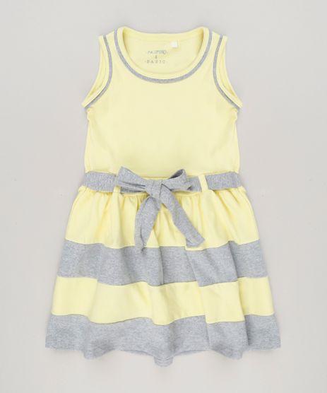 Vestido-Infantil-com-Laco-Sem-Manga-Decote-Redondo-em-Algodao---Sustentavel--Amarelo-9222072-Amarelo_1