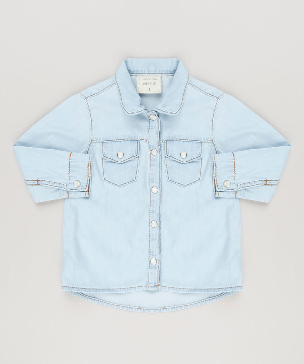 82ba27a8f3 Camisa Jeans Infantil com Bolsos Manga Longa Azul Claro - ceacollections